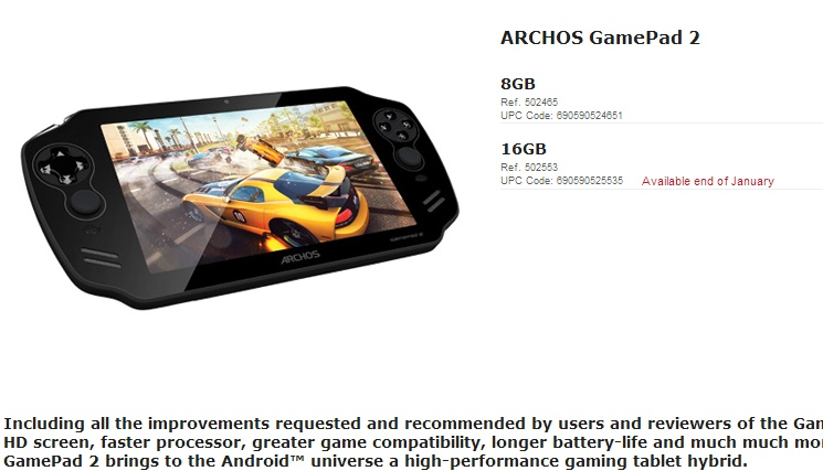 Archos Gamepad 2 16 GB
