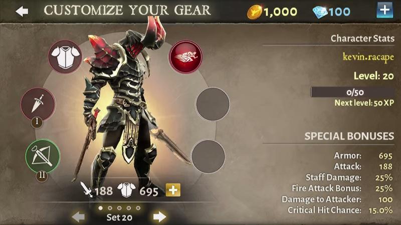 Weniger komplex als beim Vorgänger: Das Inventar von Dungeon Hunter 5. (Bildquelle: Gameloft)